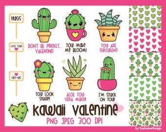 50% OFF, Cactus clipart, kawaii cactus clipart, valentine cactus clipart, kawaii clipart, kawaii cactus clipart, valentine digital paper