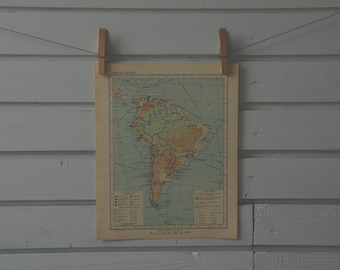 1956 Vintage South America Map