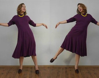 Vintage warm dress St Michael Knit Dress Cozy Dress Wool dress Purple dress Midi dress Long sleeves Godet dress Vintage 80s Winter dress