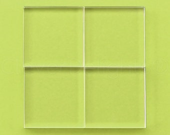 """5 Pk - 50mm (2"""") Square Glass Tiles - Clear Transparent Tiles - Solid Glass Tiles - 10mm Thick"""