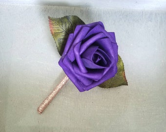 Rose gold and purple boutonieere, rose gold boutonniere, purple boutonniere, wedding boutonniere, simple boutonniere, shiny boutonniere