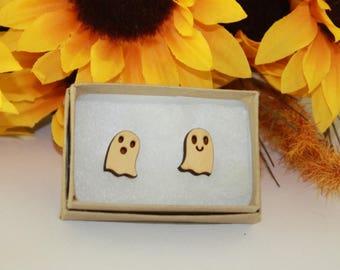 Wood Ghost Stud Earring, halloween earrings