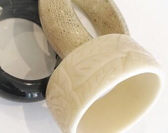 retro rose bangle / wide floral bracelet / frida kahlo / vintage jewelry