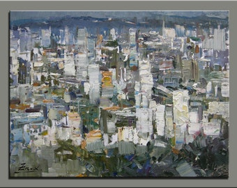 original oil painting,hand painted oil on canvas,framed,ready to hang,huge 40''x30''  palette knife painting cityscape
