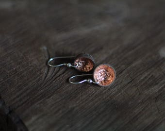 Real woodland acorn cap earrings with copper leaf and sterling silver ear wires