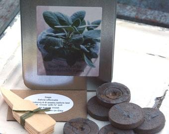 Sage Herb Kit, Indoor Herb Kit, DIY Plant Kit, Sage Garden Seeds, Salvia officinalis, Hostess Gift, Foodie Gift or Gift for Mom
