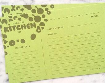 "Recipe Cards // Hand Silkscreened, Screenprinted, Light Green 4 x 6"" (Set of 12) // Foodie Gift, Wedding Shower, Housewarming, Cooking"