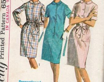 1965 VINTAGE SIMPLICITY PATTERN 5878 Dress. Size 16. Bust 36