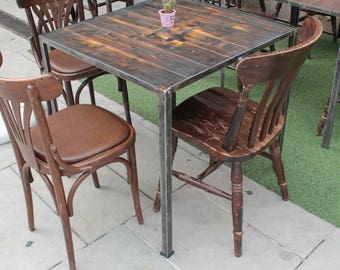 Rustic Industrial Table wood iron pub restaurant cafe