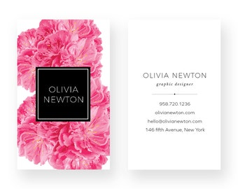 Pink Peony Business Card Design - Taupe Business Card - Premade Business Card - Printable Business - Calling Card Graphic Design Watercolor