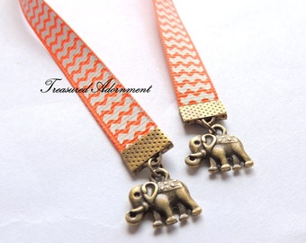 Bookmark, Petit Elephant Bookmark, Vintage style Bookmark, Orange Chevron Ribbon, Gift for Book lover, Bookworm, India, Ethnic bookmark gift