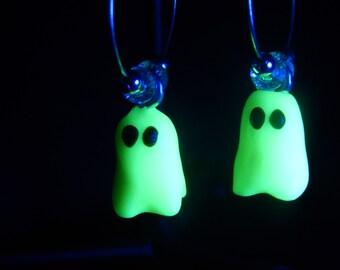 Pair of Glow-in-the-Dark Ghost Hoop Earrings, Handmade of Polymer Clay.  Great for Halloween!