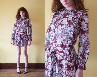 70s Hippie Dress Maroon White Floral Dress Drop Waist Dress Dolly Ruffle Dress Babydoll Boho Dress Mini Dress Spring Dress