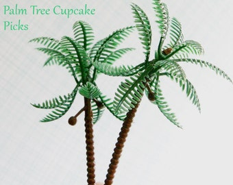 Palm  Tree Cupcake Toppers, Palm Tree Cupcake Picks, Beach  Cupcake Toppers (12)