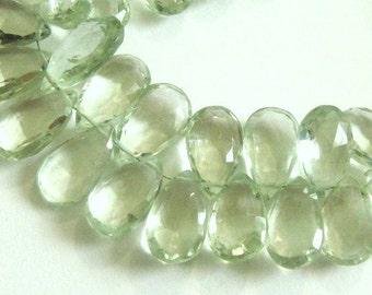 Green Amethyst Prasiolite Pear Briolette Gemstone Faceted Beads,  MATCHED PAIRS,  2 Pcs, Brides, Feburary Birthstone, 10x7-12x9mm