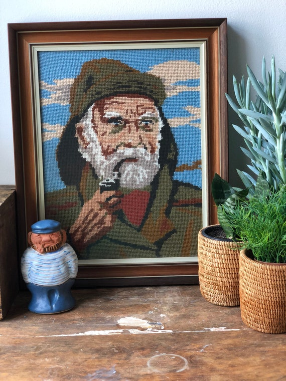 large Fisherman with pipe framed needlepoint vibrant colors / handmade excellent condition 1970s