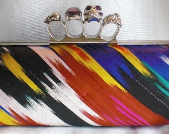 Silk Ikat Skull Knuckle Duster Clutch- Made to Order