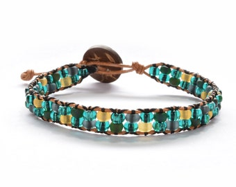 Glass Seed Bead Leather Wrap Bracelet