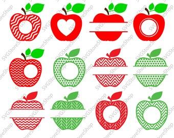 Apple SVG Frames, Teacher Svg Cut Files, svg, dxf, png,Graduation monogram frame, Class Appreciation Bundle Cricut, SIlhouette