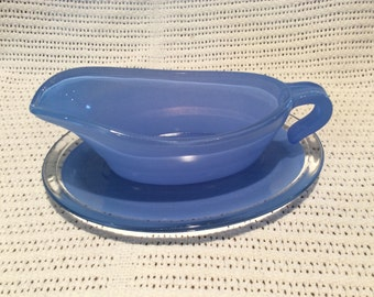 Phoenix Sprayware Blue Gravy Boat and Saucer circa 1950