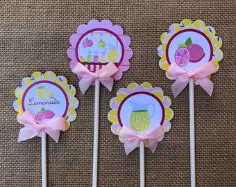 Pink lemonade cupcake toppers/ lemonade/ pink lemonade/ cupcake toppers