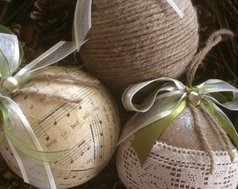 Rustic Christmas Tree Decoration, Rustic Christmas Tree Ornament, Jute Christmas Tree Ornament,Christmas Music Sheet Ornament, Set of 3