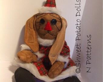 Primitive Santa Bunny Raggedy Cloth Doll