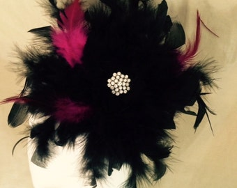 Feather Black Fascinator with Jewel Hair Clip