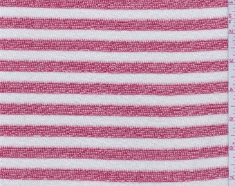 Jewel Red/Chalk Stripe Sweater Knit, Fabric By The Yard