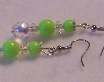 Mint Green and Crystal Drop Earrings. Free Shipping