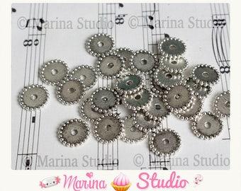 large 10 spacer beads silver metal washers N26947 12mm Tibetan