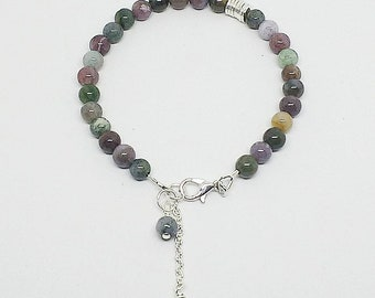 Fancy Jasper bracelet, jasper and silver, jasper bracelet, handmade, ready to ship jewelry, stone bracelet, free shipping, stone jewlery