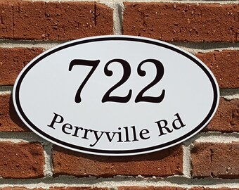 """Customized Home Address Sign Aluminum Oval 12"""" x 7"""" Personalized House Number Plaque"""