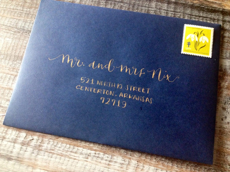 Calligraphy addressing wedding invitations