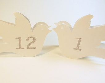 White Dove Love Birds Wedding Table Numbers, Wedding Shower Table Cards, Elegant Birds, Eco-Friendly Wedding Reception Place Cards, Sign