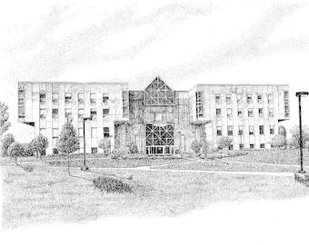 University Library, IUPUI, Indianapolis, Indiana, Fine Art Print