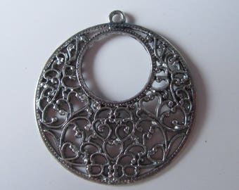set of 2 large pendants in silver - very original and openwork