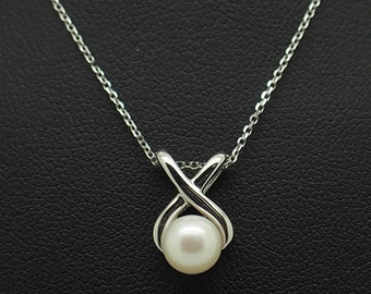 "10K White Gold 6mm White Pearl Slider Pendant w/14K White Gold Necklace-16""; sku # 5211"