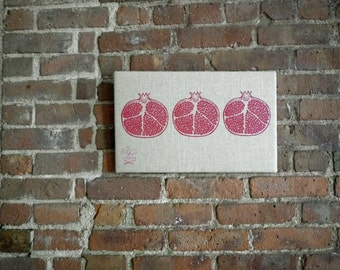 Pomegranate Screen Print on Linen Wall Art - Kitchen Decor, Gourmet Gift, Food Art, Peace Sign, Fruit Print, Ready to Ship, Holiday Gift