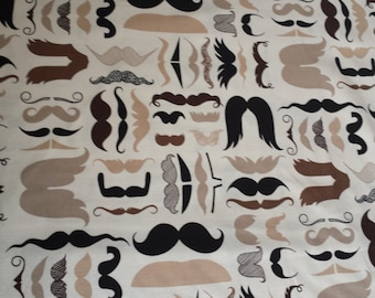 A Must Stache  Alexander Henry Taupe Tan Cotton Fabric