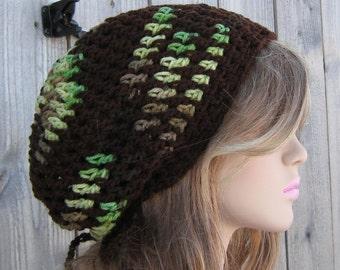 Slouchy beanie summer hat, Amazon green brown hippie dreadlock slouchy beanie tam hat