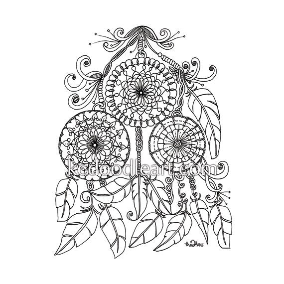 Instant digital download adult coloring page dream catcher for Adult coloring pages dream catchers