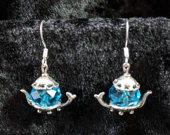 Blue faceted bead teapot earrings #430