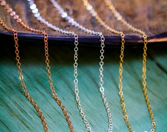 Jewelry Chain Sterling Silver Chain • Rose Gold Chain 14K Gold Filled Chain 14K Rose Gold Layering Chain • Long Chain Short