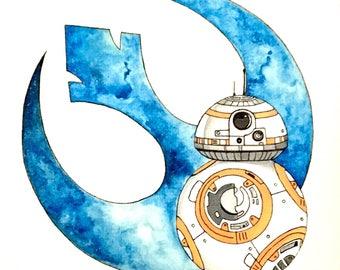 Star Wars BB-8 Rebel watercolor painting