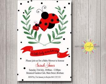Printable Digital Custom Baby Shower Invitation Lady Bug Red Green Black and White Leaf Girl