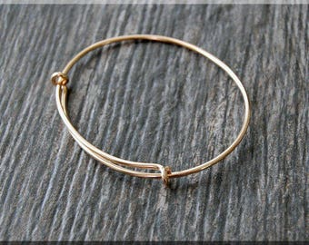 14k Gold Filled Expandable Bangle Bracelet, Adjustable Bangle, Smooth Gold Bracelet, Gold Filled, Charm Jewelry, Yellow Gold Bracelet
