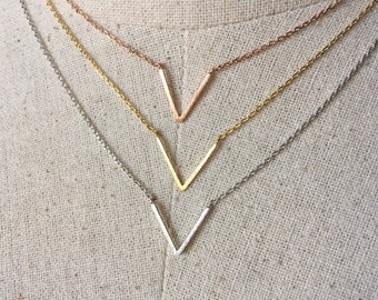 V Necklace, 14k Gold plated/Rose Gold/Silver, Dainty Necklace