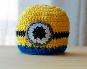 Crocheted Minion Baby Hat Size 0-3months