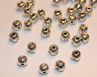 metal - heart love beads 10 x Love - 5mm - silver - Scrapbooking Customisation